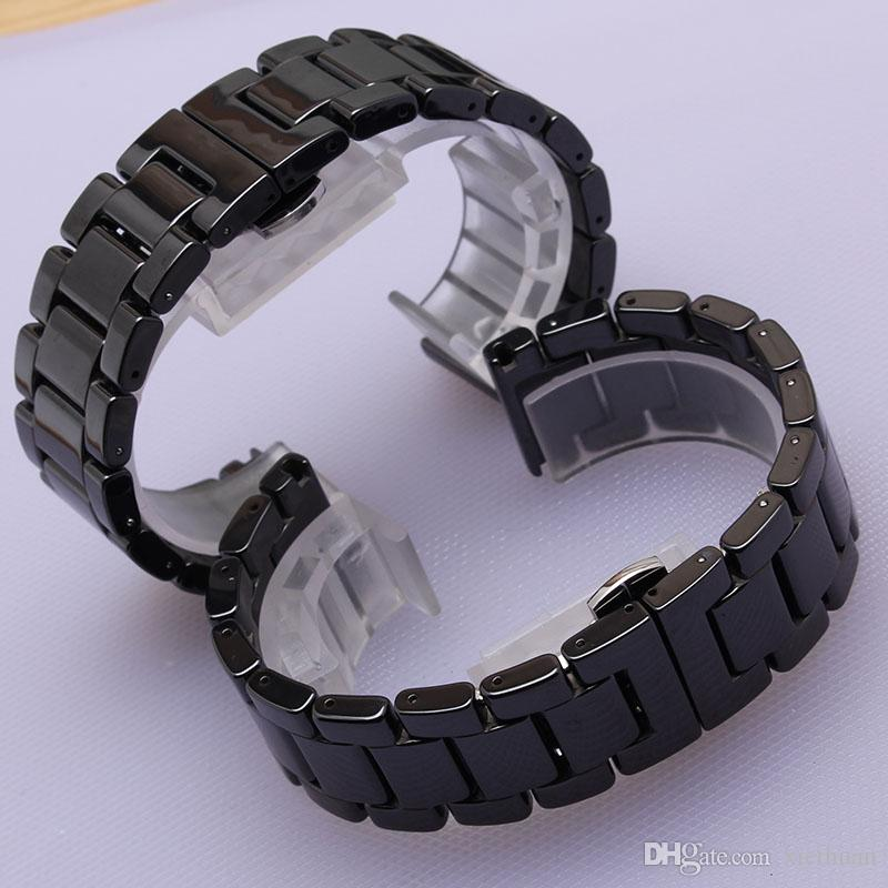 23b673da Керамические ремешки для часов ремни часы браслеты черный ремешок для часов  полированные наручные часы ремешок браслет ...