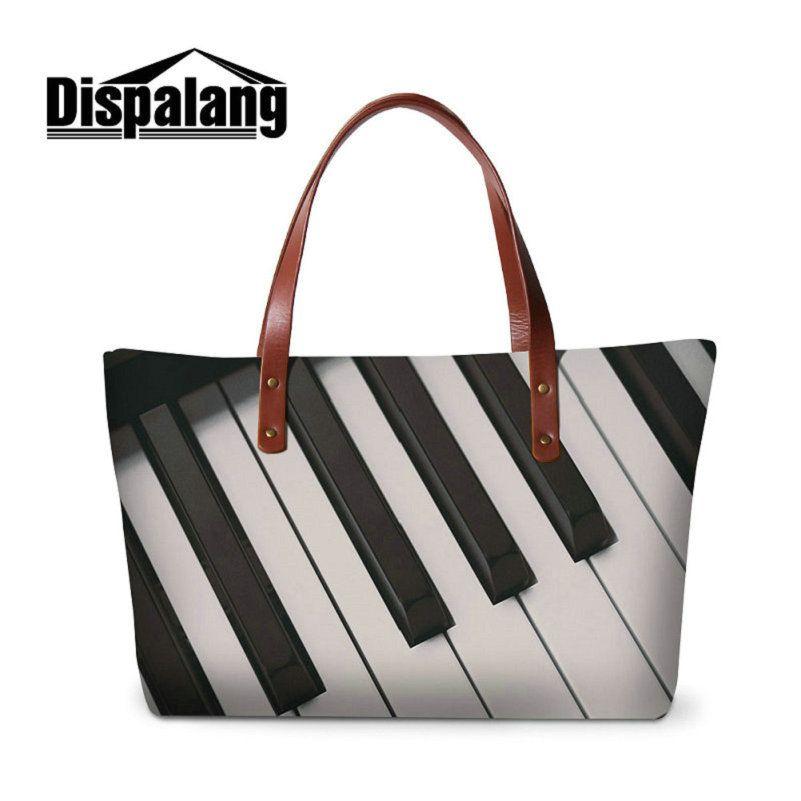 Women's Casual Tote Bag Neoprene Top Quality Top-Handle Bags For Girls Musical Note Pattern Ladies Handbags Woman Handbag Tote Drop Shipping