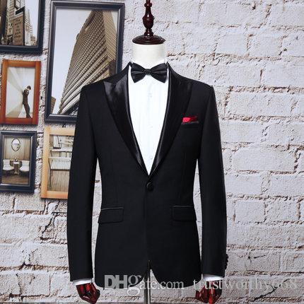 Billig Und Feine One Button Groomsmen Peak Revers Bräutigam Smoking Männer Anzüge Hochzeit / Prom Best Man Blazer (jacke + Pants + Tie)