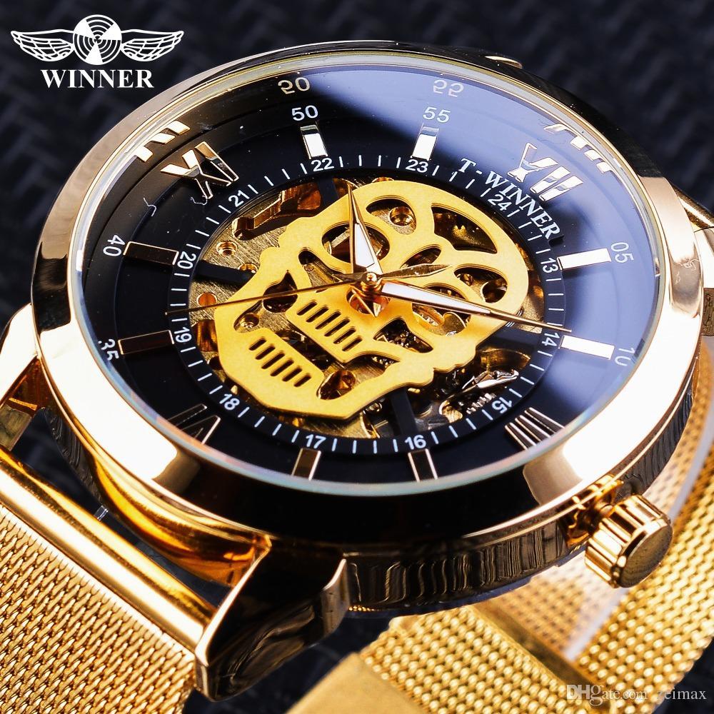 Winner Clock Classic Black Golden Skull Display Luminoso Hands Horloge Mannen Orologi da polso meccanici automatici da uomo Cintura a rete