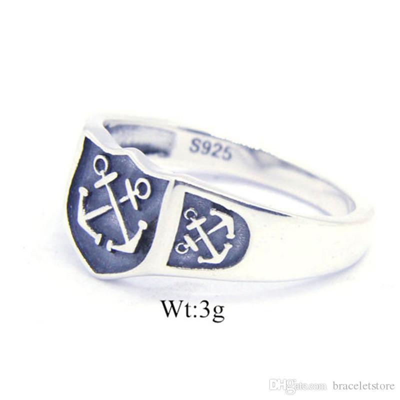 1 PC Darmowa Wysyłka Rozmiar 6-10 Lady Girls 925 Sterling Silver Anchor Pierścień Biżuteria Najnowszy S925 Moda Punk Ring
