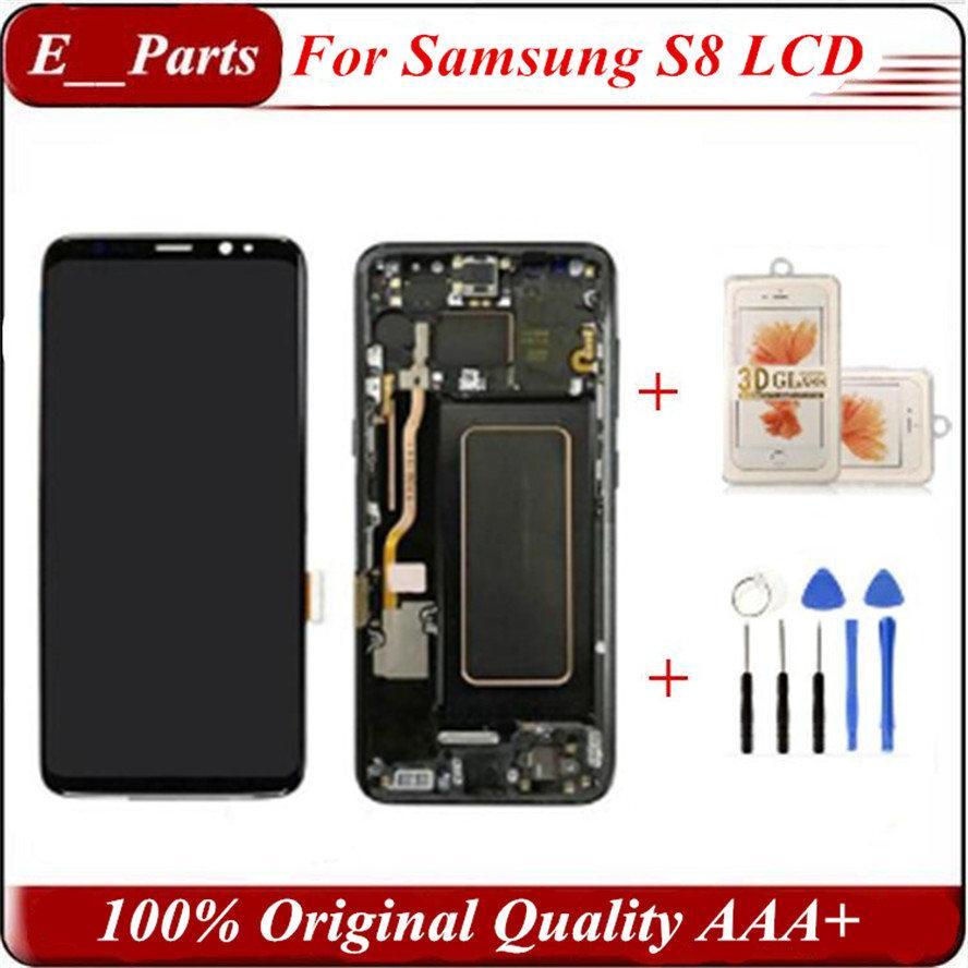 (100% original) für s8 lcd mit rahmen ersatz für samsung galaxy s8 g950 g950f display s8 plus g955 g955f touchscreen digitizer von dhl!
