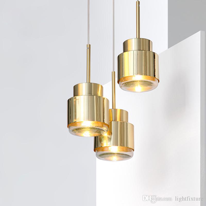 Metal nórdico Lámpara colgante Comedor Bar Corredor Light Cafe lámpara colgante de una sola cabeza del cromo del oro pendiente de la luz Fixture