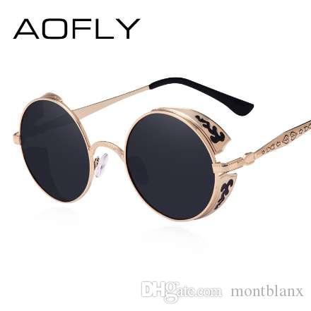AOFLY Steampunk Sunglass Do Vintage Moda rodada óculos de sol das mulheres designer de marca de metal escultura óculos de sol dos homens oculos de sol S1635