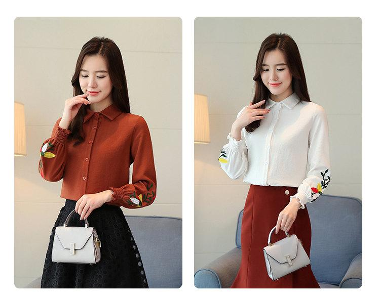 Women\`s Autumn Embroidery Tops 2019 Casual Long Sleeve Female Blouses Work Wear Corduroy Shirts Elegant Office Blusa Mujer Camisas (3)