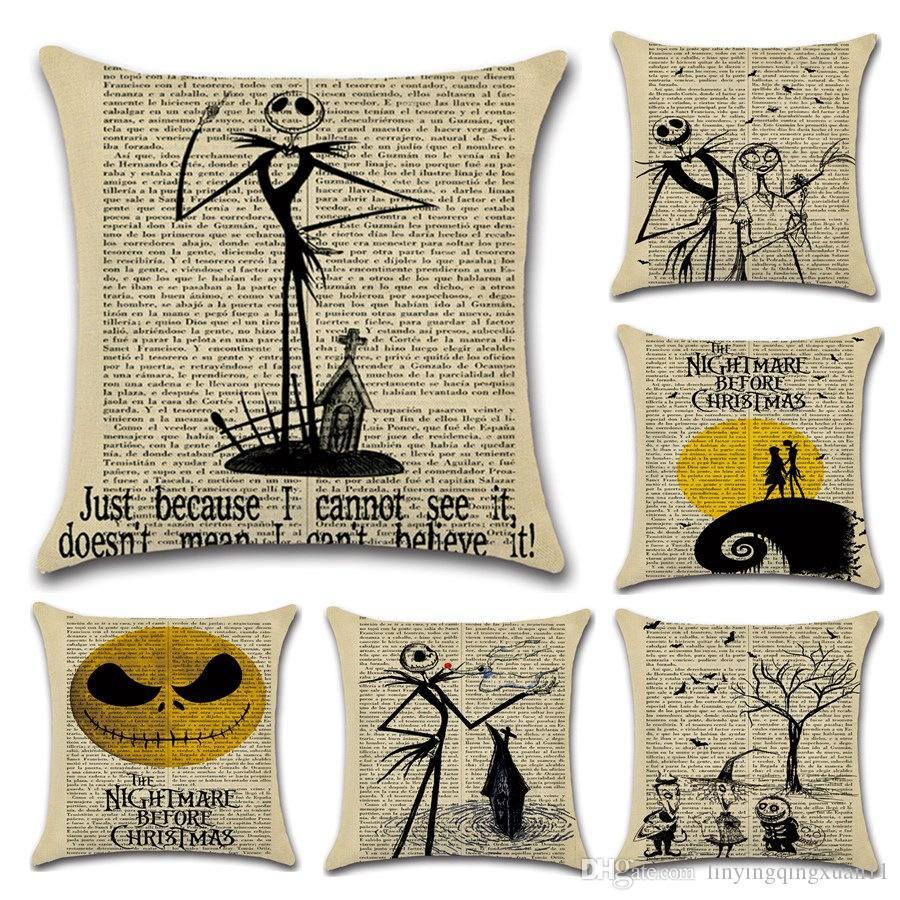 Halloween Serie Giornale Pillow Case Halloween Fantasma Cuscino Cuscino 45 * 45cm per la decorazione domestica di Capodanno