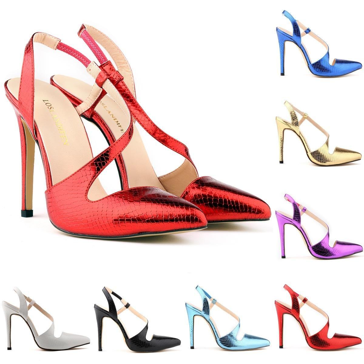 Marka tasarımcı-Bayan Stilettos Yüksek Topuklar Timsah Tahıl Stilettos Sivri Burun Ayak Bileği Kayışı Takozlar Platformu Seksi Ayakkabı ABD Boyutu 4-11 D0093