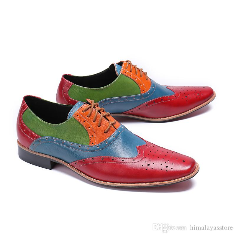 Colorful Mens Prom Dress Shoes Male