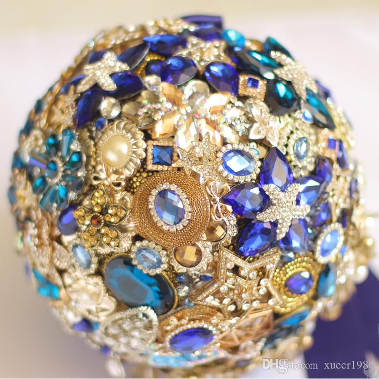 IFFO Nem 8-inch custom bridal bouquet,Midnight blue wedding bouquet, sapphire diamond brooch bouquet,Luxury bright blue + gold theme