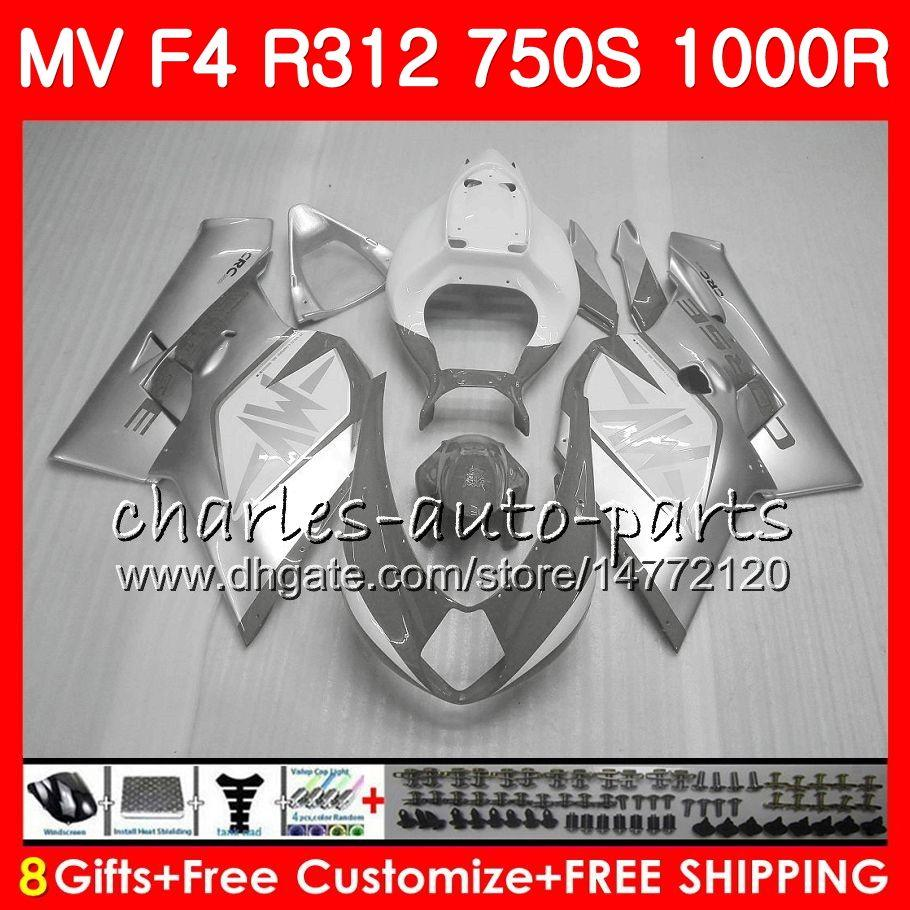 Bodywork For MV Agusta F4 1000R 312 1078 1+1 750 1000CC 05 06 102HM73 750 R312 glossy white 750S 1000 R MA MV F4 2005 2006 05 06 Fairing