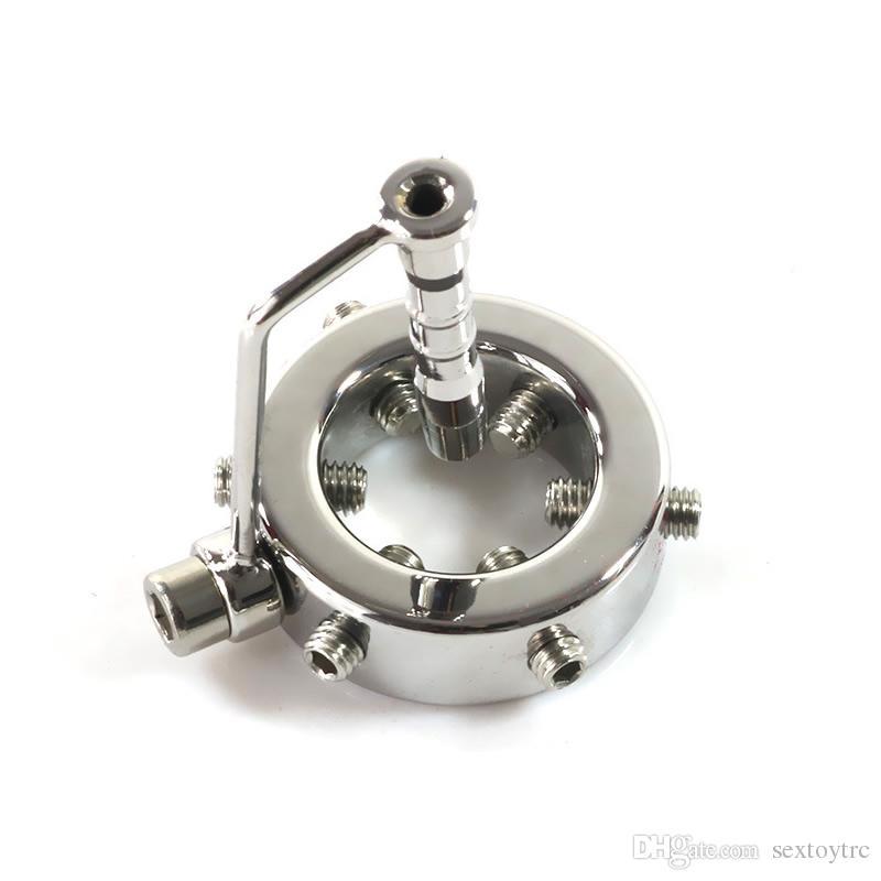 Bujes de sondeo uretral de acero con anillo de pene Apretón de escroto Metal BDSM Engranaje de uretra Dilatador de intrusión Anillo de apretón de Scrotal