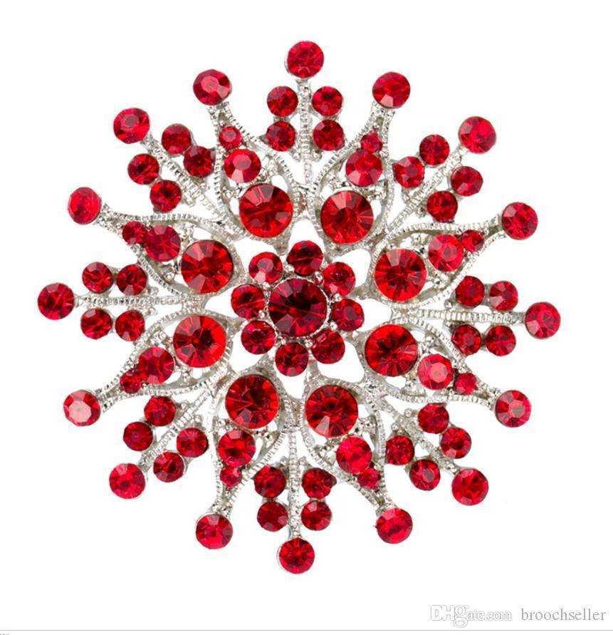 2.4 Polegada de Ródio Banhado A Prata Red Strass Cristal Diamante Grande Broche Pin Presentes Bouquet Decoração