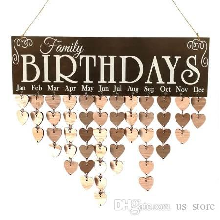 Family Birthday Words Hanging DIY Wooden Calendar Kalendar Reminder Board Plaque Home Decor Pendant Colorful