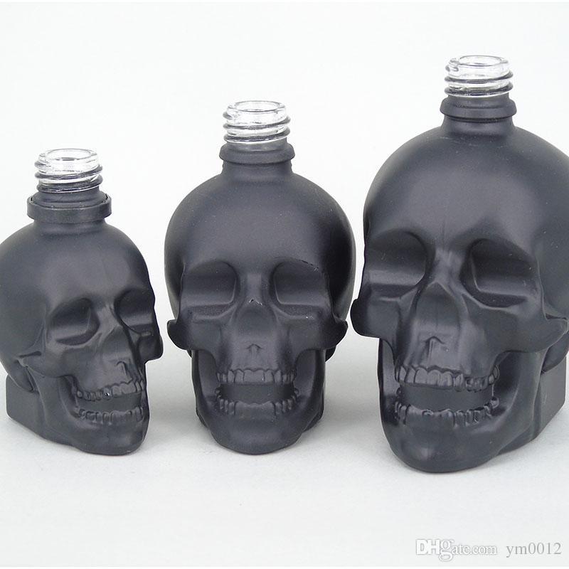 30ml 60ml 120ml Botella de cráneo Botella amarga E Líquido Frosted Negro Forma de cráneo Botellas de gotero de vidrio con prueba de niños