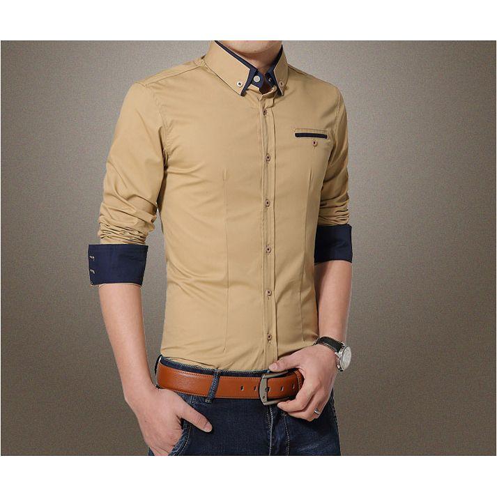 Erkekler Gömlek Uzun Kollu Yaka Casual Gömlek Erkekler Slim Fit Resmi Sosyal Gömlek haki