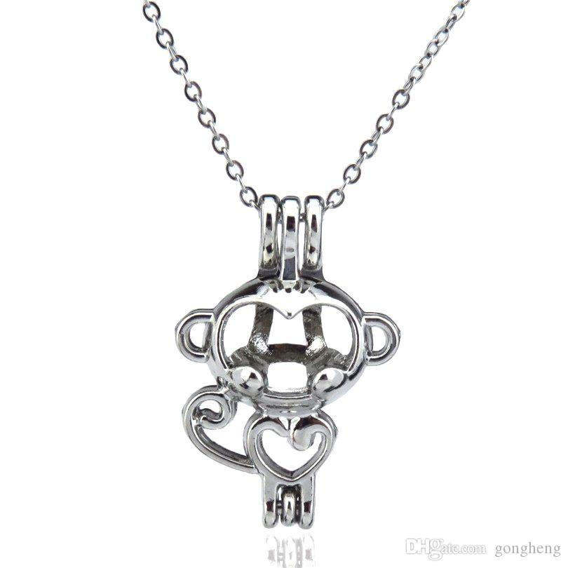 Silver Beauty Cute Mini Monkey Hollow Oil Diffuser Locket Women Aromatherapy Beads Pearl Oyster Cage Necklace Pendant-Boutique gift