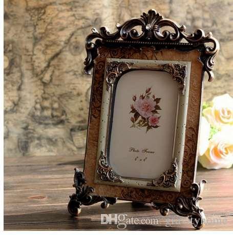 Mejores nuevos marcos de fotos de resina retro europea Vintage 6 pulgadas de marco de foto Decoración de escritorio regalo para mujeres