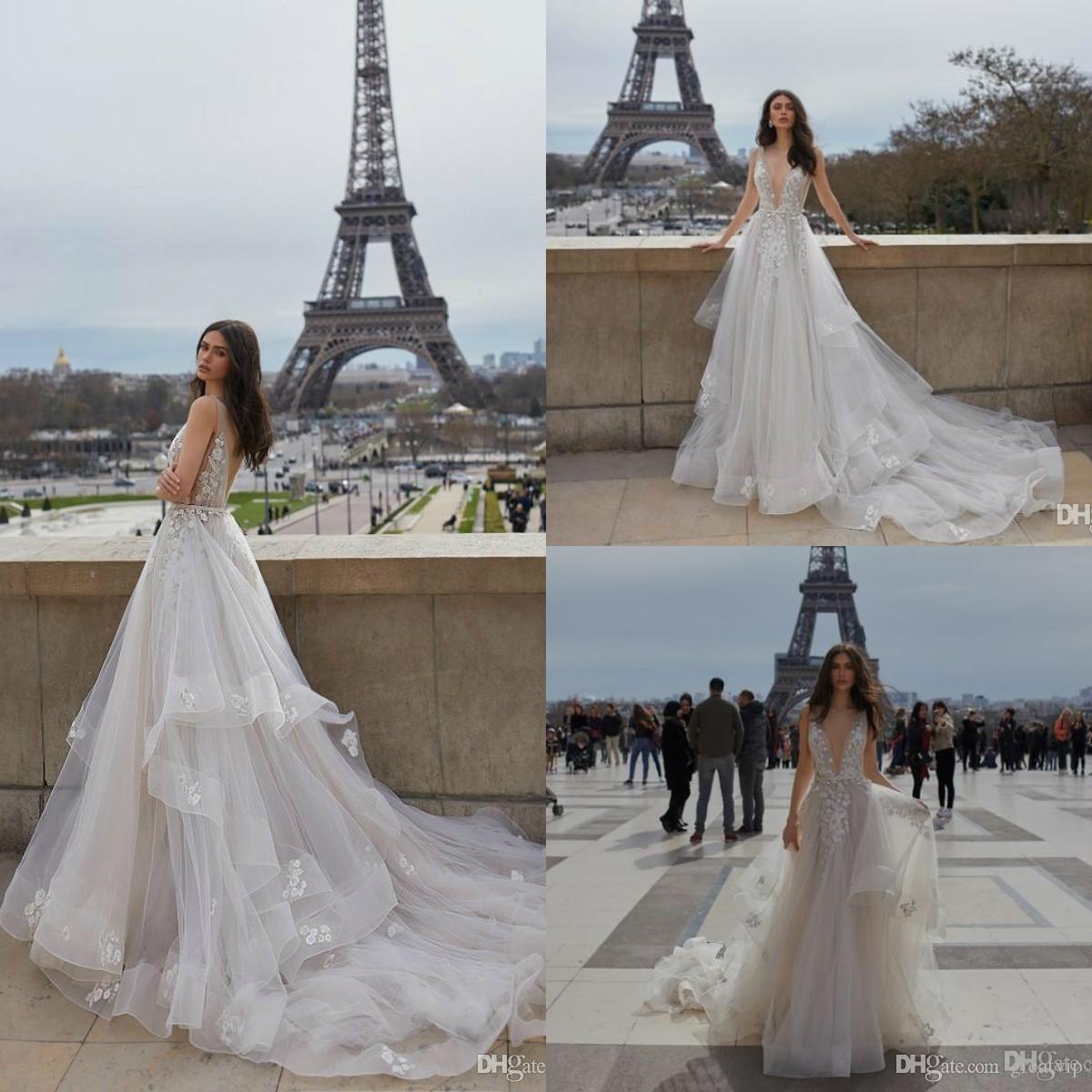 Julie Vino Wedding Dresses A Line V Neck Backless Applique Lace Tulle Ruffles Sweep Train Braidal Gowns Plus Size Robe De Mariée