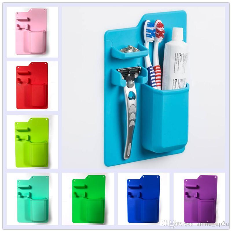 Silicone Mighty Toothbrush Holder for Bathroom Organizer Storage Space Razor
