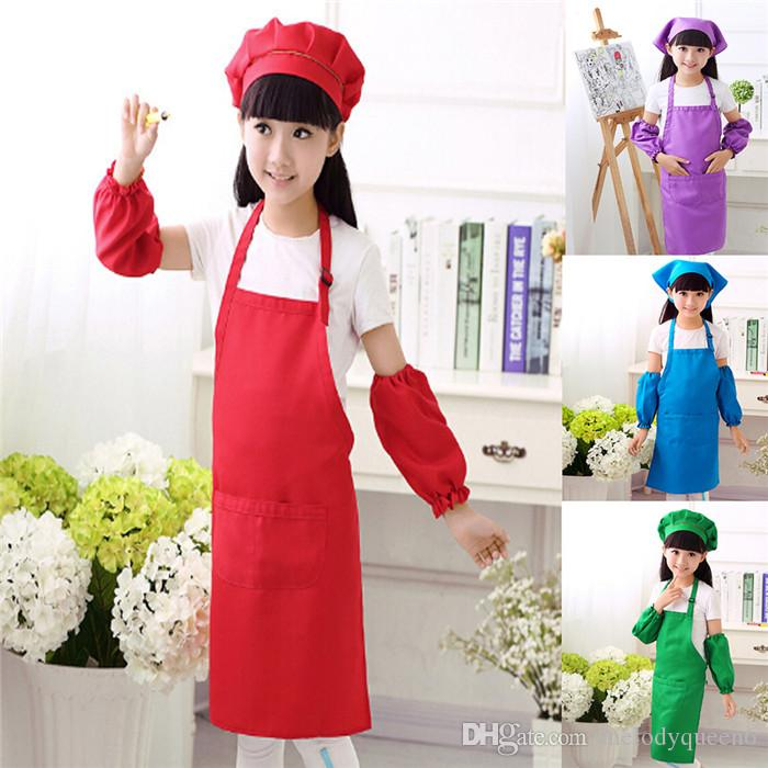 1PCS Hotsale Colorful Children Kitchen Waists Kids Aprons with Sleeve Chef Hats for Painting Cooking Baking Drinking Food