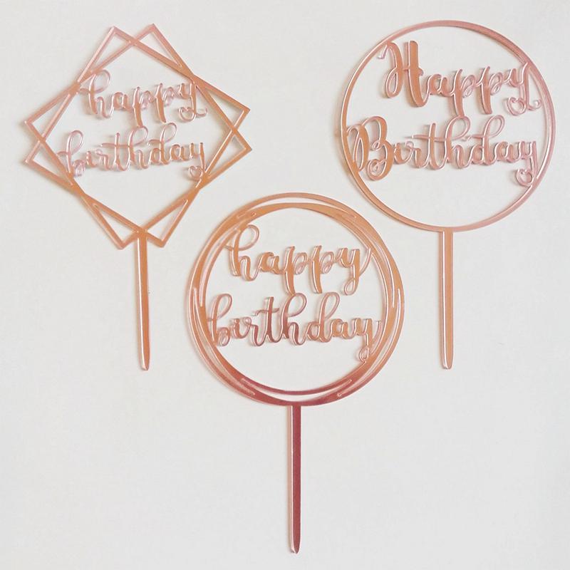 5 unids oro rosa feliz cumpleaños pastel de cumpleaños de acrílico baby shower fiesta de cumpleaños decoraciones niños