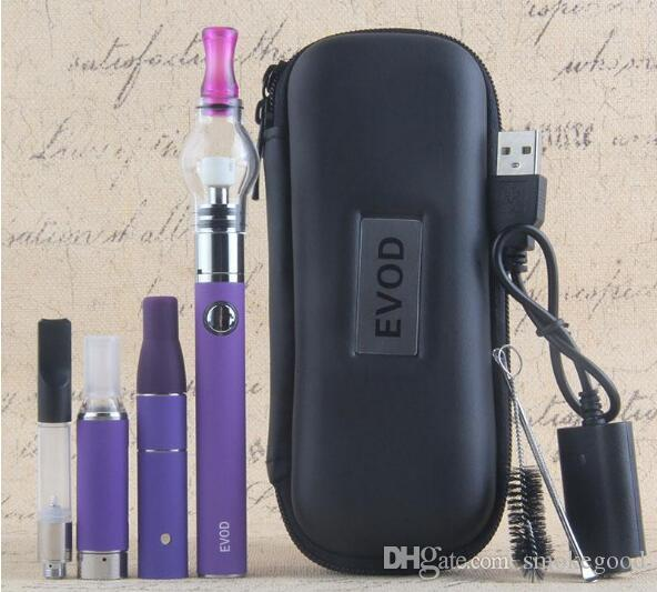 Vape 살짝 적셔 펜 eVod 기화기 4 1 스타터 키트에 건조 허브 왁스 오일 Vapes 510 스레드 USB 패스 스루 CE3 Vape 카트리지 키트