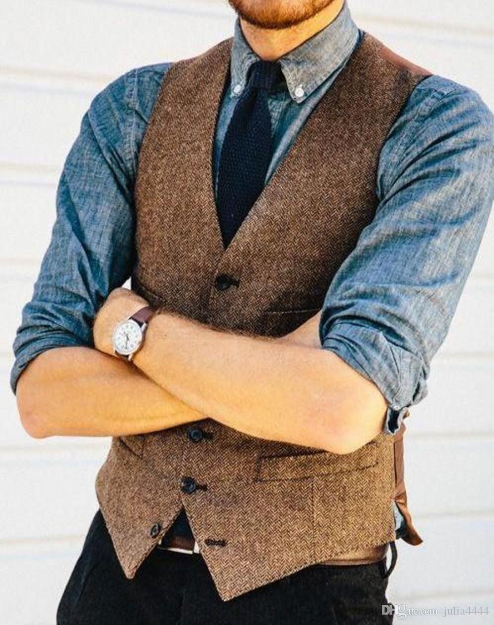 2019 Lã casamento de Brown rústico Groom Coletes Para Farm Country Herringbone Tweed Suit Vest Slim Fit Tailor Made Groomsmen Traje
