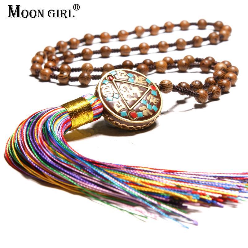 القمر فتاة العرقية الخرز الخشبي القلائد الطويلة للنساء خمر بوهو اليدوية مجوهرات الأزياء الشرابة القلائد المعلقات