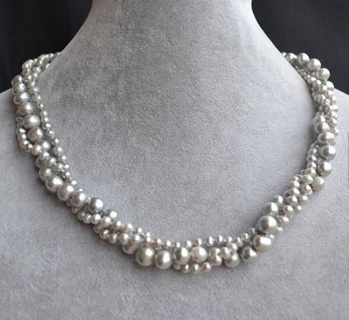 Collana di perle autentiche, collana di perle d'acqua dolce naturale da 18,5 pollici 3 pollici, gioielli di perle da donna
