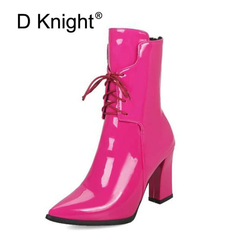 Brand Designer 2018 Inverno Patent Women Shoes Nero Tacchi alti Stivali da equitazione Piattaforma allacciatura Stivaletti Chunky Large Size 32-43