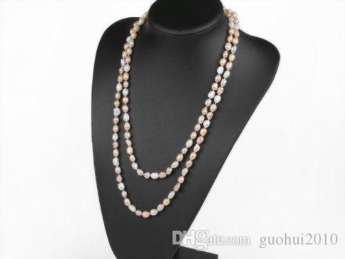 Hand knotted natural 8-9mm baroque pink white purple freshwater pearl 120cm sweater chain long necklace fashion jewelry
