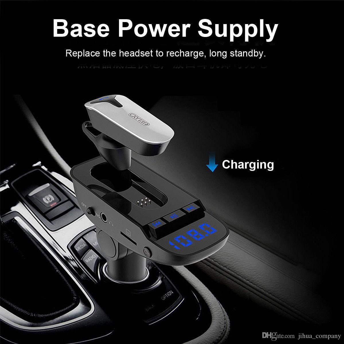 ER9 Car MP3 Player Bluetooth Headset 2 em 1 Transmissor FM mãos-livres Bluetooth Input Speakerphone linha de áudio para todos os smartphones