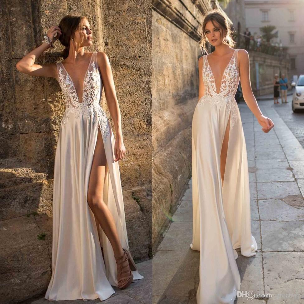 2019 Berta Bohemian Lace Wedding Dresses Appliqued A Line Deep V Neck Split Side Bridal Gowns Vestido De Novia Satin Wedding Dress