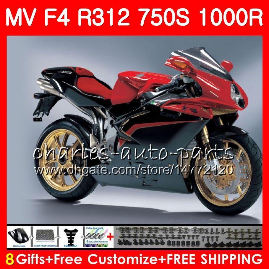 Body for MV Agusta 위로 빨간색 F4 R312 750S 1000 R 750 1000CC 05 06 102HM.14 750 S 1000R 312 1078 1 + 1 MA MV F4 2005 2006 05 06 페어링 키트