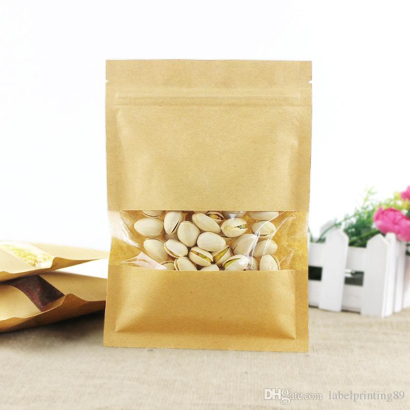 100pcs flat bottom brown kraft paper zip lock packaging bag with clear window paper zipper pouch gift candy power storage bag