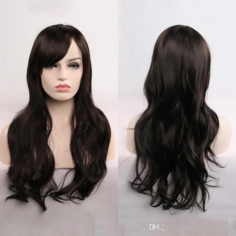 Perruque longue Cosplay longue bouclée avec cheveux avant pour toutes les perruques de soie à haute température de couleur de la peau