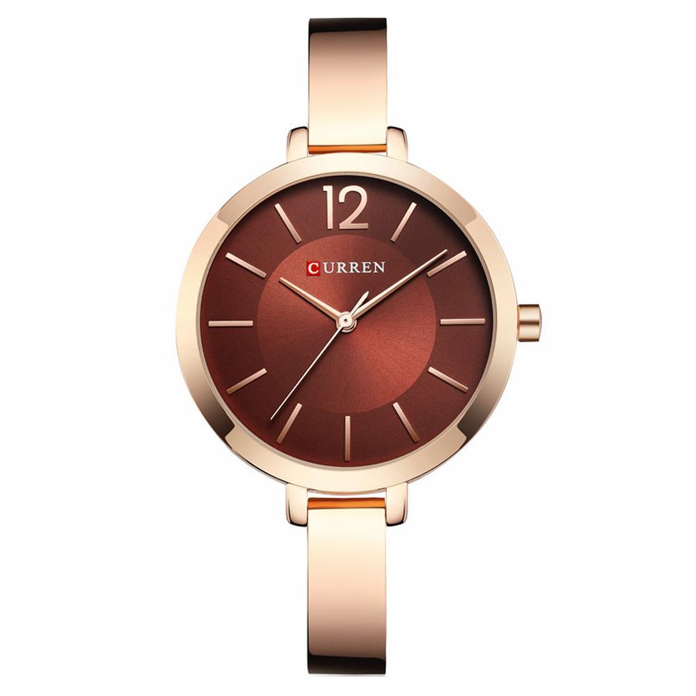 Reloj de pulsera de cuarzo de acero inoxidable impermeable para mujeres CURREN Original para mujer 9012
