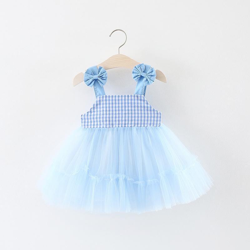 Roupa Bonito Do Bebê Menina Arco Vestidos de Meninas 2018 Novo Verão TuTu Saias Meninas Vestidos Grade Rosa e Luz Azul Vest ...