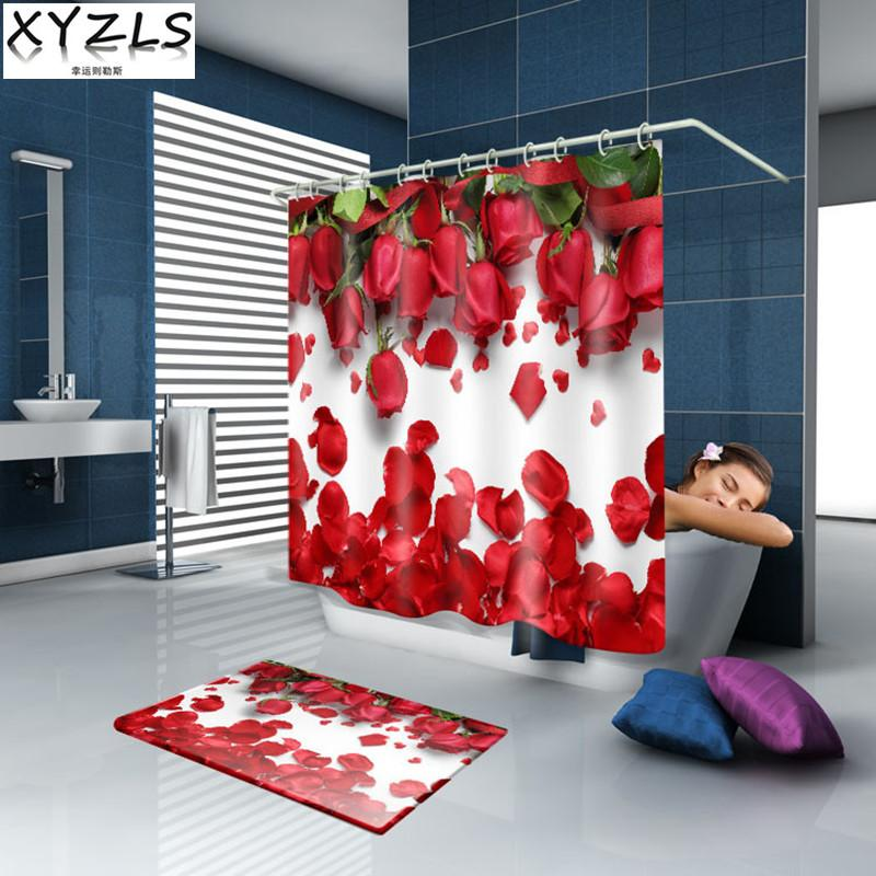 XYZLS 2017 New Buerfly / Red Rose 3D Waterproof Shower Curtain Bathroom Polyester Curtains Customized