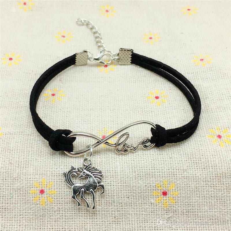 2018 New Fashion Vintage Cute Animals Antique Silver horse Handmade Charms Infinity Love Leather Bracelet for Women men Gifts Accessories