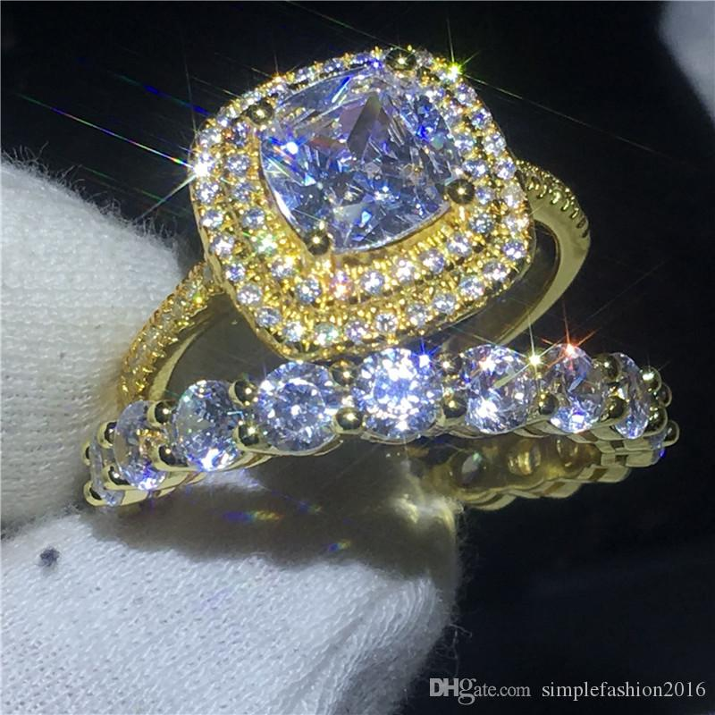 عشاق العلامة التجارية خاتم الخطوبة مجموعة الذهب الأصفر معبأ 925 الفضة خاتم خواتم للنساء الرجال 3ct 5a الزركون تشيكوسلوفاكيا المجوهرات
