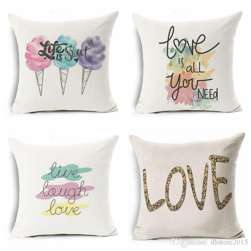 Pillow Case Valentines Day Gift Letter Heart Love Linen Cushion Cover Bedroom Decorative Pillow Cover Pillow Cases Home Decor
