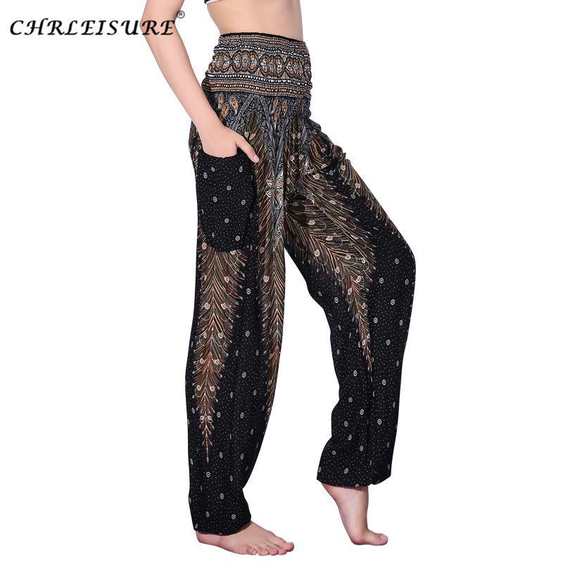 CHRLEISURE Ter Pantolon Kadın Artı Boyutu Yaz Cep Yüksek Bel Pantolon Pantolon Kadın Spor Giyim Bohemia Bloomers 4 Renk D1892603