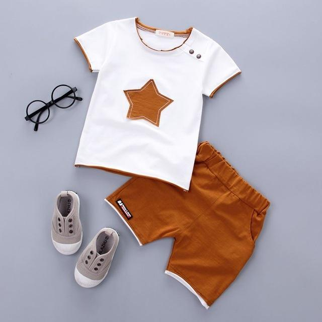 Boys Clothing Set Summer New Fashion 100% Cotton with Five-star Print for 1 2 3 Years Old Baby Infant Clothes 2pcs Set A075