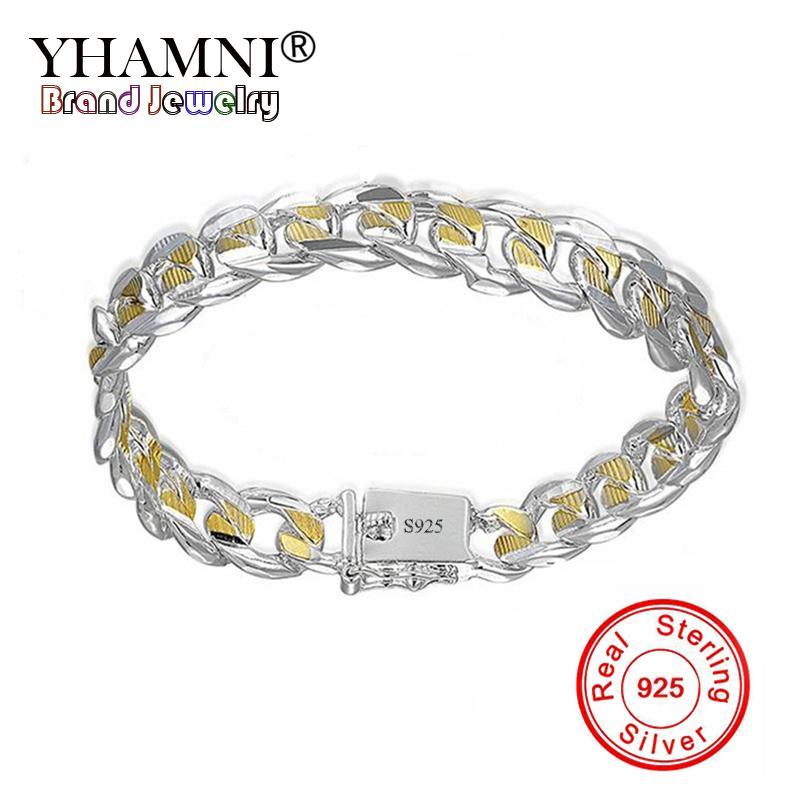 YHAMNI Women Bracelets 925 Sterling Silver 8inch 10mm Golden Figaro Chains Bracelet For Men Women Fashion Jewelry LH091