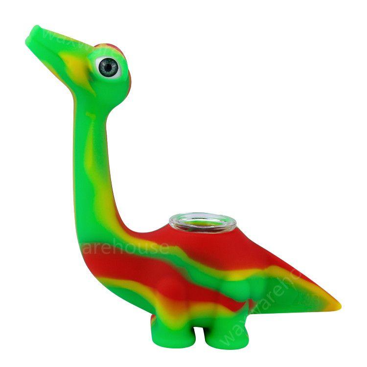 Nouveau design tuyaux en silicone de fumer tuyau d'eau de conception de dinosaure créatif pour fumer fumer bong Accessoires 10 couleurs Livraison gratuite