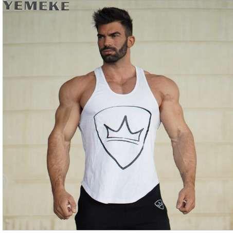 YEMEKE El más nuevo diseño de moda de verano Los hombres Tank tops fuerte impreso hipster chaleco blanco, negro, verde militar