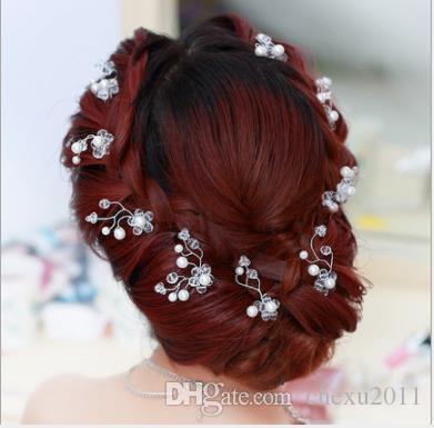 Cristal coréen à la main coiffe petite tête fleur U type épingle à cheveux robe de mariée perle tête ornement plaque ornement de cheveux blanc perle épingle à cheveux