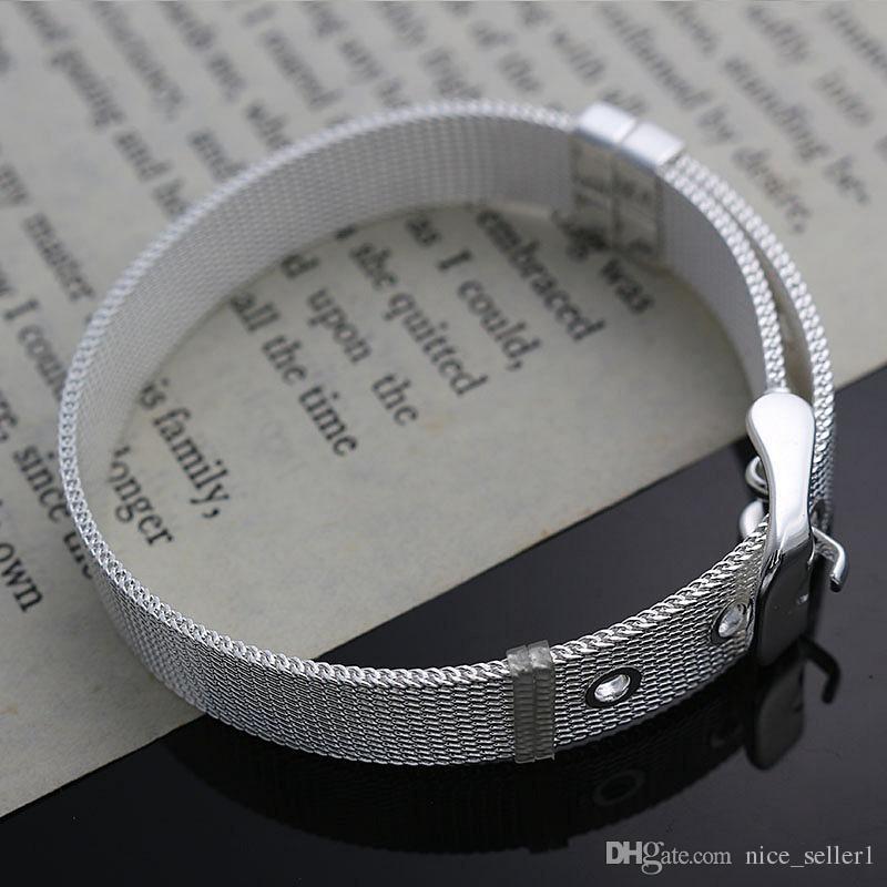 Fine 925 Sterling Silver Bracelet for Women Men,Fashion 925 Silver Wrist Watch Chain 8inch Bracelet Italy New Arrival Xmas Best Gfit AH237