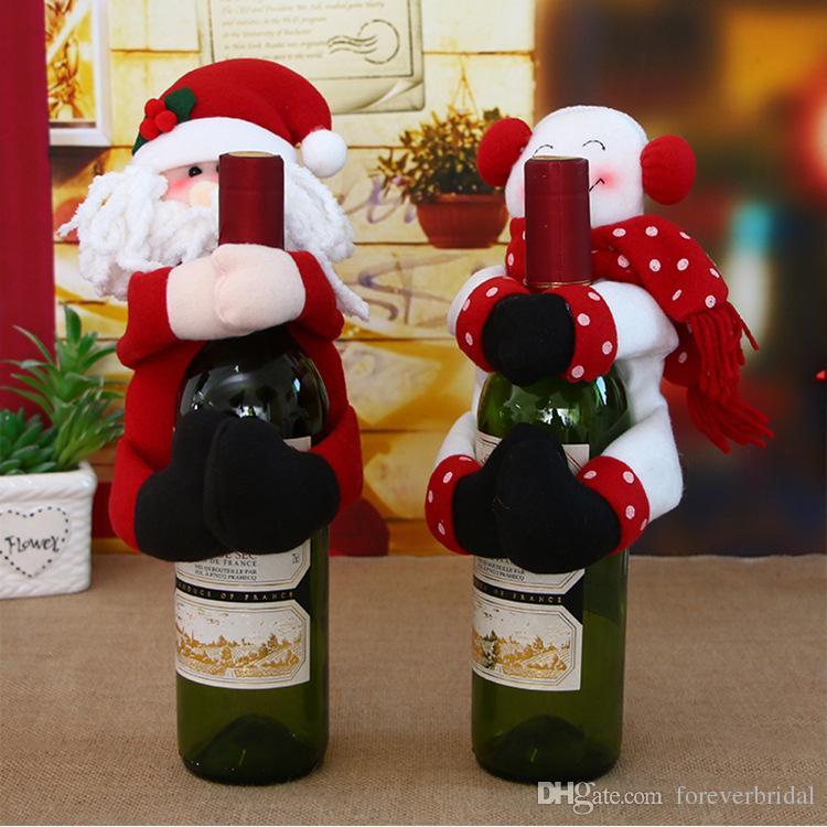 Новые Идеи Рождественские Украшения Красного Вина Милый Дизайн Санта-Клаус Красное Вино Обложка Устанавливает Бутылки Шампанского Куртки